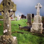 Just returned from our first outing visiting Sacred sites—ruins of monasteries and Celtic Christian communities over 1,000 years old (image of Kilmacduagh Abbey)—and we were graced by the presence of a rainbow (and harsh winds and hail... It's a give and a take). No word yet on the pot of gold...